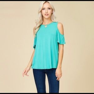 Blue/Turquoise Crescent Top. So cute! Soft!!